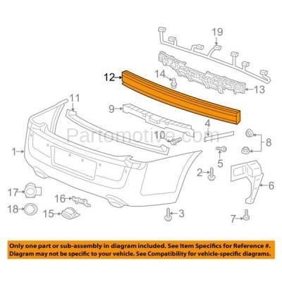 Aftermarket Replacement - BRF-1132RC 2011-2014 Chrysler 300 & Dodge Charger (Sedan 4-Door) Rear Bumper Impact Face Bar Crossmember Reinforcement Primed Steel - Image 3