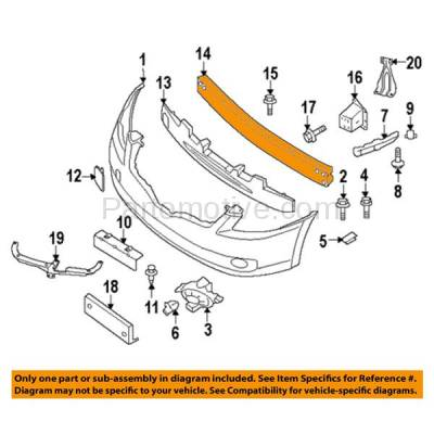 Aftermarket Replacement - BRF-1681FC 2007-2008 Nissan Altima (2.5 & 3.5 Liter Engine) (Coupe & Sedan) Front Bumper Impact Face Bar Crossmember Reinforcement Primed Steel - Image 3