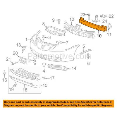 Aftermarket Replacement - BRF-1254FC 2005-2010 Pontiac G6 (Convertible, Coupe, Sedan) Front Bumper Impact Face Bar Crossmember Reinforcement Beam Primed Made of Steel - Image 3