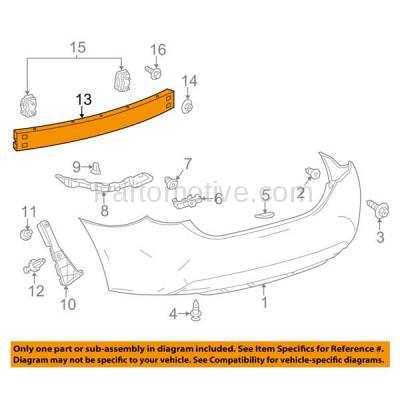 Aftermarket Replacement - BRF-1882RC 2014-2019 Toyota Corolla (1.8 & 2.0 Liter Engine) (Sedan 4-Door) Rear Bumper Impact Face Bar Crossmember Reinforcement Primed Steel - Image 3