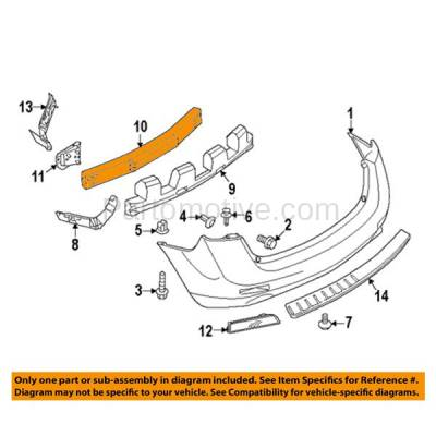 Aftermarket Replacement - BRF-1721RC 2009-2014 Nissan Murano (3.5 Liter V6) (Convertible & Sport Utility) Rear Bumper Impact Face Bar Crossmember Reinforcement Aluminum - Image 3