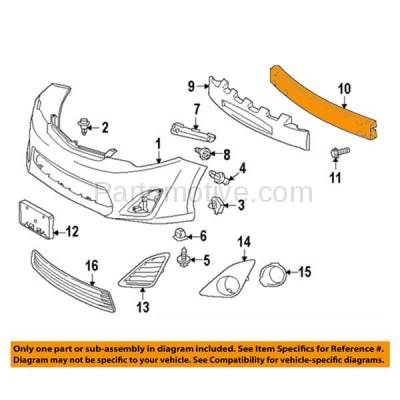 Aftermarket Replacement - BRF-1832FC 2012-2014 Toyota Camry & Camry Hybrid (to 12/2013 Production Date) Front Bumper Impact Face Bar Crossmember Reinforcement Steel - Image 3