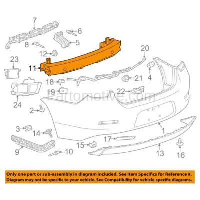 Aftermarket Replacement - BRF-1337RC 2013-2015 Chevrolet Malibu & 2016 Malibu Limited (Sedan 4-Door) Rear Bumper Impact Face Bar Crossmember Reinforcement Aluminum - Image 3