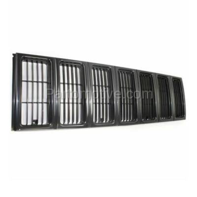 Aftermarket Replacement - GRL-1255C CAPA NEW 97-01 Cherokee Black Front Face Bar Grill Grille CH1200208 55055150 - Image 2