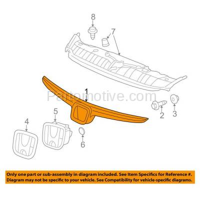 Aftermarket Replacement - GRL-1838C CAPA 06 07 08 Civic Sedan & Hybrid Front Grill Grille HO1200172 71122SNAA00 - Image 3