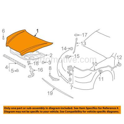 Aftermarket Replacement - HDD-1679 2003-2008 Toyota Corolla (CE, LE, S, Sport, XRS) Sedan 4-Door (1.8 Liter Engine) Front Hood Panel Assembly Primed Steel - Image 3