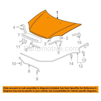 Aftermarket Replacement - HDD-1351 2004-2005 Honda Civic (DX, EX, GX, HX, Hybrid, LX, Si, Value Package) 1.3L & 1.7L (Coupe & Sedan) Front Hood Panel Assembly Primed Steel - Image 3