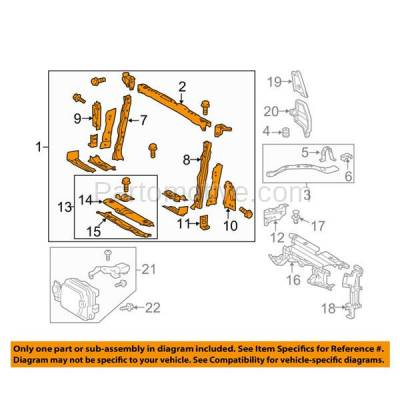 Aftermarket Replacement - RSP-1788 2015-2018 Toyota RAV4 (2.5 Liter Engine) (Models Made In North America) Front Center Radiator Support Core Assembly Primed Made of Steel - Image 3