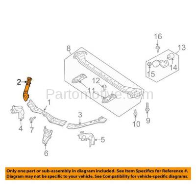 Aftermarket Replacement - RSP-1708R 2007-2013 Suzuki SX4 & 2012 SX4 Crossover (2.0 Liter Engine) Front Radiator Support Upper Crossmember Tie Bar Panel Steel Right Passenger Side - Image 3