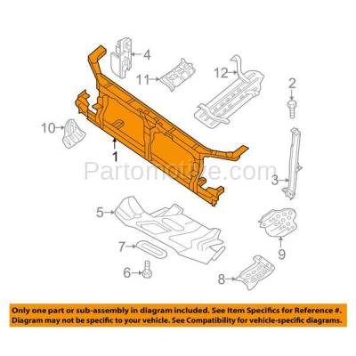 Aftermarket Replacement - RSP-1658 2009-2014 Nissan Xterra & 2010-2014 Frontier Pickup Truck (2.5 & 4.0 Liter Engine) Front Radiator Support Core Assembly Primed Steel - Image 3