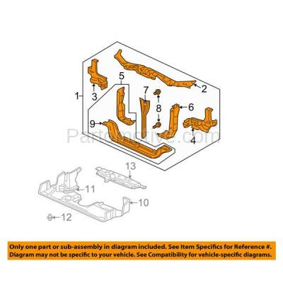 Aftermarket Replacement - RSP-1379 2006-2008 Honda Pilot (EX, EX-L, EXL, LX, SE-L, Special Edition, Value Package) Front Radiator Support Core Assembly Primed Steel - Image 3