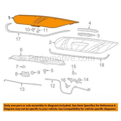 Aftermarket Replacement - HDD-1131 2013-2016 Dodge Dart (Aero, GT, Limited, R/T, Rallye, SE, SXT) Sedan 4-Door (Models without Hood Scoop) Front Hood Panel Assembly Primed Steel - Image 3