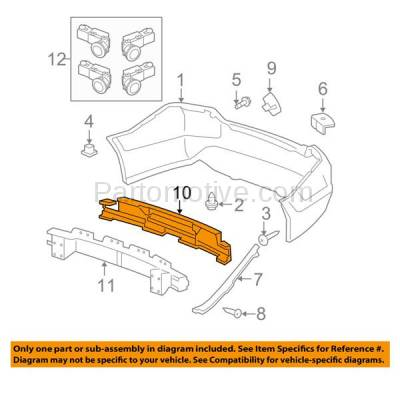Aftermarket Replacement - ABS-1213R 08-12 Accord Sedan Rear Bumper Face Bar Impact Absorber HO1170139 71570TA0A00 - Image 3