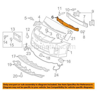 Aftermarket Replacement - ABS-1425F 12-15 Prius & Plug-in Front Bumper Face Bar Impact Absorber TO1070173 5261147090 - Image 3