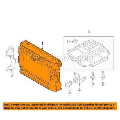 Aftermarket Replacement - RSP-1853 2012-2015 Volkswagen Passat (Sedan 4-Door) (1.8 & 2.0 & 2.5 & 3.6 Liter) Front Center Radiator Support Core Assembly Primed Plastic - Image 3