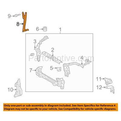 Aftermarket Replacement - RSP-1767 2009-2014 Toyota Matrix (AWD, Base, S, XR, XRS) Wagon Front Radiator Support Center Hood Latch Support Bracket Primed Steel - Image 3