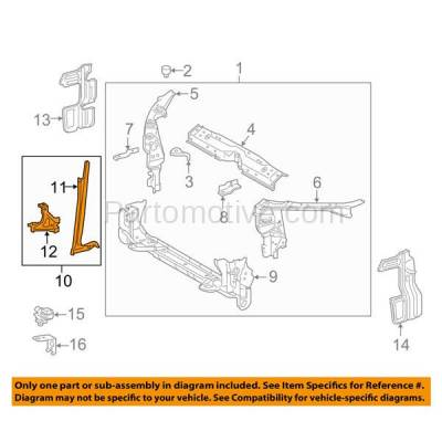 Aftermarket Replacement - RSP-1746 2014-2016 Toyota Corolla (Sedan 4-Door) (1.8 Liter Engine) Front Radiator Support Center Hood Latch Lock Support Bracket Primed Steel - Image 3