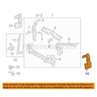 Aftermarket Replacement - RSP-1747L 2014-2016 Toyota Corolla (1.8 Liter Engine) Front Outer Radiator Support Side Air Deflector Bracket Panel Primed Plastic Left Driver Side - Image 3