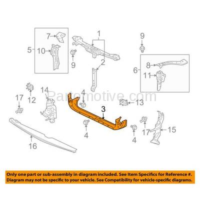 Aftermarket Replacement - RSP-1565 2004-2012 Mitsubishi Galant & 2004-2011 Endeavor & 2007-2012 Eclipse Front Radiator Support Lower Crossmember Tie Bar Steel - Image 3