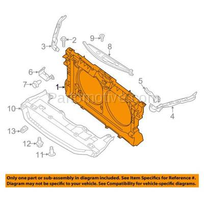 Aftermarket Replacement - RSP-1594 2013-2018 Nissan Altima & 2016-2018 Maxima (Sedan) 3.5L Front Center Radiator Support Core Assembly Primed Made of Plastic with Steel - Image 3