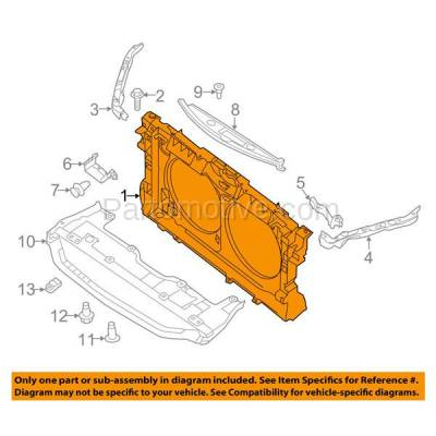 Aftermarket Replacement - RSP-1596 2016-2018 Nissan Altima (Base, S, SL, SR, SV) Sedan (2.5 Liter Engine) Front Radiator Support Core Assembly Plastic with Steel - Image 3