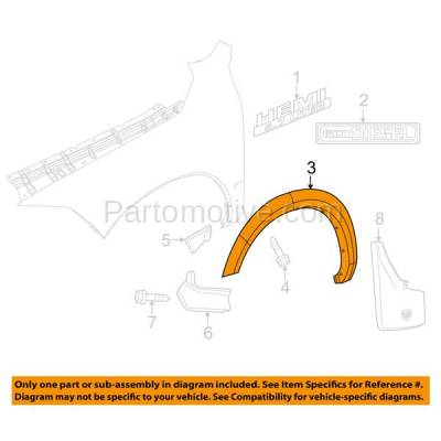Aftermarket Replacement - FDF-1025R 11-17 RAM 1500 Front Fender Flare Wheel Opening Molding Trim RH Passenger Side - Image 3