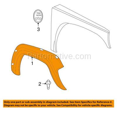 Aftermarket Replacement - FDF-1030L 02-04 Liberty Front Fender Flare Wheel Opening Molding Trim LH Left Driver Side - Image 3