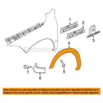 Aftermarket Replacement - FDF-1023L 11-16 Ram 2500/3500 Front Fender Flare Wheel Opening Molding Trim LH Driver Side - Image 3
