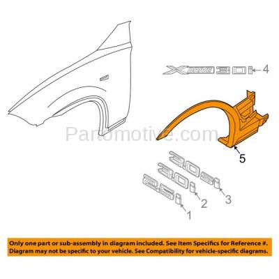 Aftermarket Replacement - FDF-1008L 04-06 X5 Front Fender Flare Wheel Opening Molding Trim Arch Left Driver Side NEW - Image 3