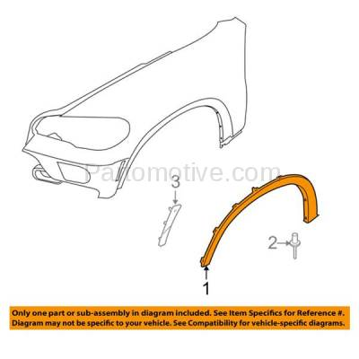 Aftermarket Replacement - FDF-1009R 07-13 X5 Front Fender Flare Wheel Opening Molding Trim Arch Right Passenger Side - Image 3