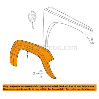 Aftermarket Replacement - FDF-1014L 05-07 Liberty Front Fender Flare Wheel Opening Molding Trim Left Driver Side NEW - Image 3