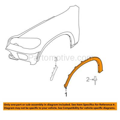 Aftermarket Replacement - FDF-1004L 07-13 X5 E70 Front Fender Flare Wheel Opening Molding Trim Arch Left Driver Side - Image 3