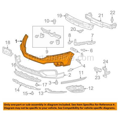 Aftermarket Replacement - BUC-2220FC CAPA 13-15 Crosstour Front Upper Bumper Cover Primed HO1014101 04711TP6A80ZZ - Image 3