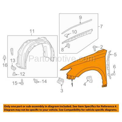 Aftermarket Replacement - FDR-1255RC CAPA 2013-2018 Lexus ES350 & ES300h (Japan & USA Built Model) Front Fender Quarter Panel Primed Steel Right Passenger Side - Image 3