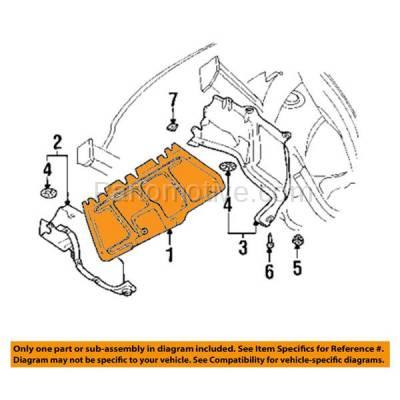 Aftermarket Replacement - ESS-1666 98-05 Beetle Center Engine Splash Shield Under Cover Guard VW1228100 1J0825237P - Image 3