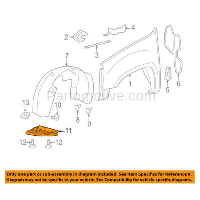 Aftermarket Replacement - ESS-1187R 11-14 Sierra 2500/3500 Engine Splash Shield Under Cover Fender Liner Right Side - Image 3