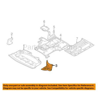 Aftermarket Replacement - ESS-1084R 01-03 5-Series Lower Engine Splash Shield Under Cover Passenger Side 51717008690 - Image 3