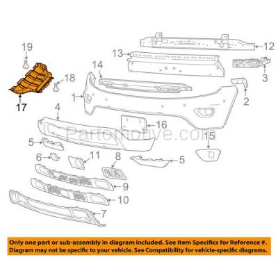 Aftermarket Replacement - ESS-1087 2014-2018 Jeep Grand Cherokee (Limited, Overland, Summit, Trailhawk) 3.0L Front Lower Engine Under Cover Splash Shield Undercar Guard - Image 3