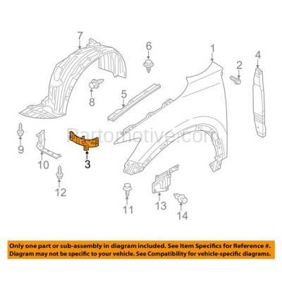 Aftermarket Replacement - FDS-1024L & FDS-1024R 14-16 Mazda3 Front Fender Brace Support Bracket Steel Left & Right Side PAIR SET - Image 3