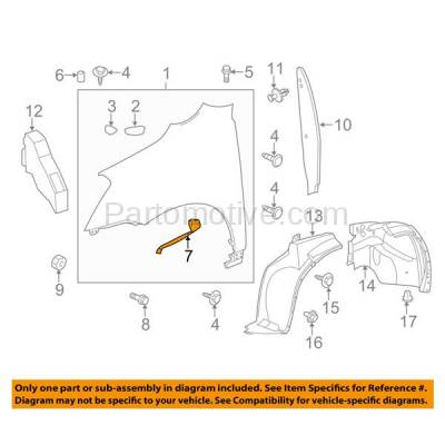 Aftermarket Replacement - FDS-1017L & FDS-1017R 09-17 Chevy Traverse Front Fender Brace Support Bracket Left Right Side PAIR SET - Image 3