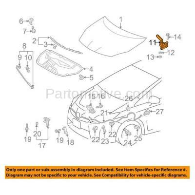 Aftermarket Replacement - HDH-1194R 2010-2015 Toyota Prius & 2012-2015 Prius Plug-In Hatchback 4-Door (1.8L) Front Hood Hinge Bracket Made of Steel Right Passenger Side - Image 3