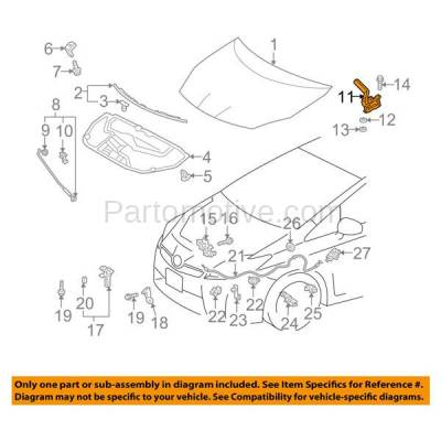 Aftermarket Replacement - HDH-1194L 2010-2015 Toyota Prius & 2012-2015 Prius Plug-In Hatchback 4-Door (1.8L) Front Hood Hinge Bracket Made of Steel Left Driver Side - Image 3