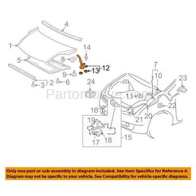 Aftermarket Replacement - HDH-1198L 2004-2009 Toyota Prius (Base, Touring) (1.5 Liter Engine) (Fits Both with or without Pad) Front Hood Hinge Bracket Made of Steel Left Driver Side - Image 3