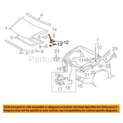 Aftermarket Replacement - HDH-1198R 2004-2009 Toyota Prius (Base, Touring) (1.5 Liter Engine) (Fits Both with or without Pad) Front Hood Hinge Bracket Made of Steel Right Passenger Side - Image 3