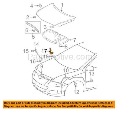 Aftermarket Replacement - HDH-1199L 2009-2013 Toyota Corolla & 2009-2014 Matrix (Sedan & Wagon 4-Door) Front Hood Hinge Bracket Made of Steel Left Driver Side - Image 3
