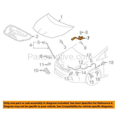Aftermarket Replacement - HDH-1190R 2012-2017 Toyota Prius V (Base, Five, Four, Three, Two) Wagon 4-Door (1.8 Liter Electric/Gas Engine) Front Hood Hinge Bracket Right Passenger Side - Image 3
