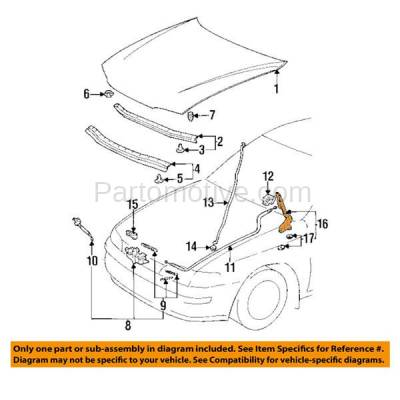 Aftermarket Replacement - HDH-1200L 1993-1997 Toyota Corolla (All Trac, Base, CE, DX, LE) Sedan & Wagon (1.6 & 1.8 Liter Engine) Front Hood Hinge Bracket Left Driver Side - Image 3