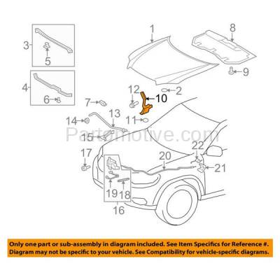 Aftermarket Replacement - HDH-1187L 2008-2013 Toyota Highlander (Sport Utility 4-Door) (2.7 & 3.3 & 3.5 Liter Engine) Front Hood Hinge Bracket Made of Steel Left Driver Side - Image 3