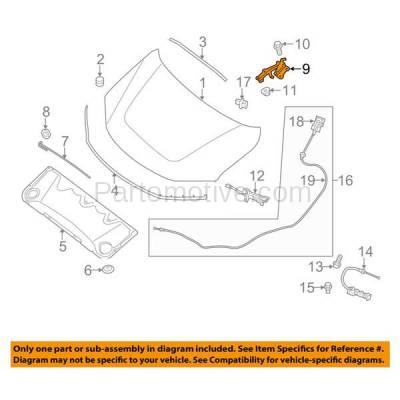 Aftermarket Replacement - HDH-1142L 2013-2018 Nissan Pathfinder (Sport Utility 4-Door) (2.5 & 3.5 Liter Engine) Front Hood Hinge Bracket Made of Steel Left Driver Side - Image 3