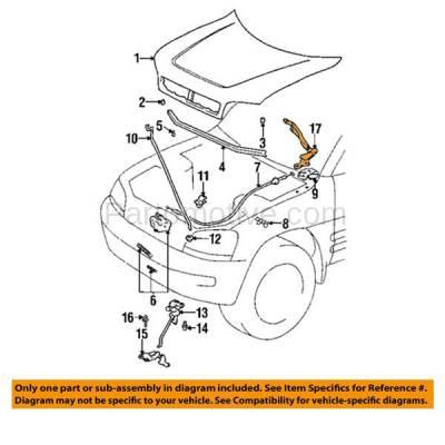 Aftermarket Replacement - HDH-1178L 1996-2000 Toyota RAV4 (Base) Sport Utility 2-Door & 4-Door (Electric & 2.0 Liter Engine) Front Hood Hinge Bracket Made of Steel Left Driver Side - Image 3
